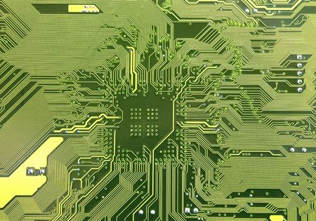 Macro of printed circuit board - computer motherboard Stock Photo