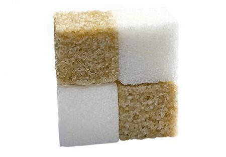 sucrose: brown and white sugar isolated on a  background