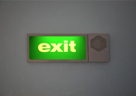 Light and acoustic  Sign of Exit, set on a wall photo