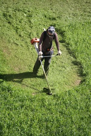 mows: man with lawn mower mows a green grass on a glade