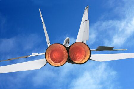 jet fighter: Russian military supersonic jet fighter on wing