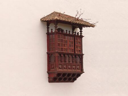 spanish style: The wooden closed balcony in the Spanish style