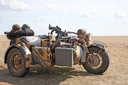 reich: Military motorcycle of army of the third Reich for war in desert