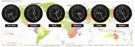 displaying: Wall clocks displaying the time of different cities against a standard time zones of the World Stock Photo