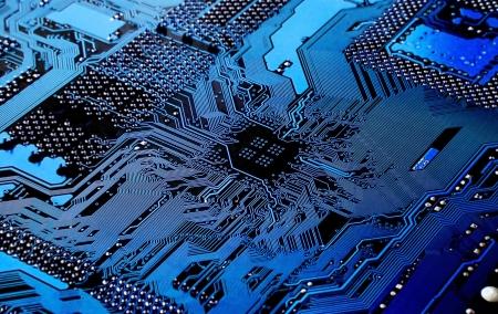 silicio:  Macro de la placa de circuito impreso - placa base PC Foto de archivo
