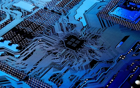 processors:  Macro of printed circuit board - computer motherboard Stock Photo
