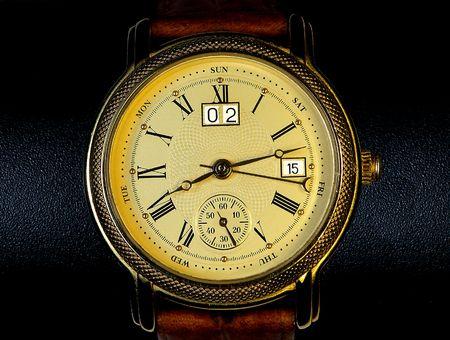 chronograph: Chronograph watch isolated black background Stock Photo