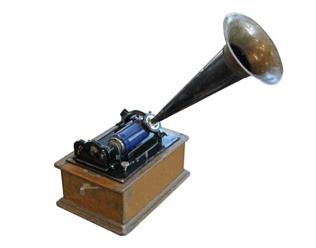 phonograph: edison phonograph isolated on white