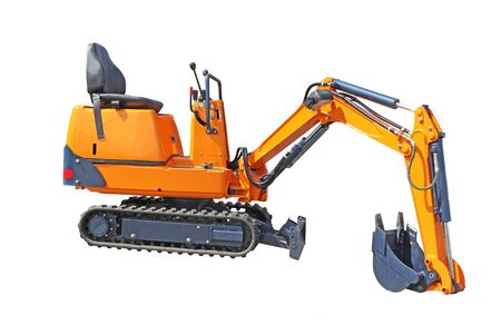 back hoe: Small excavator of orange colour isolated on the white Stock Photo