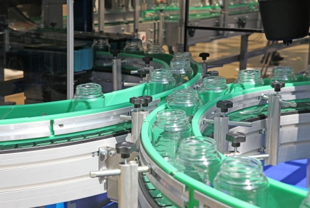 Technological line for washing of glass jars photo