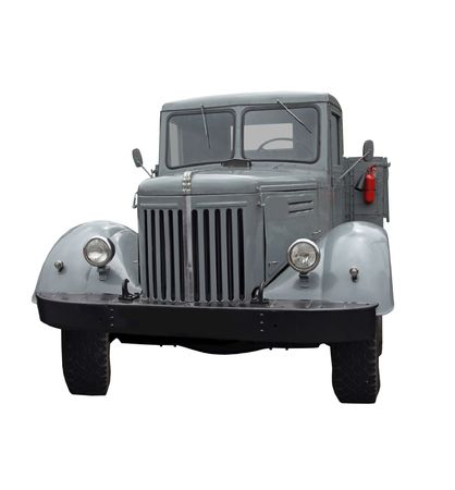 The antiquarian gray truck isolated on a white background photo
