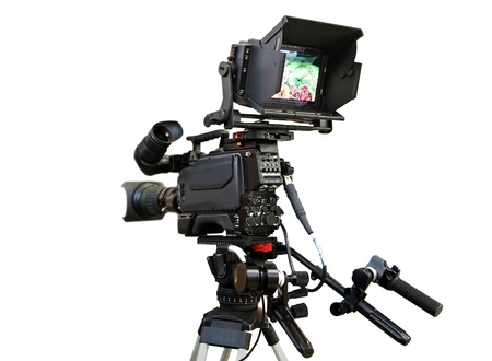 tripod: professional camcorder isolated on a white background Stock Photo