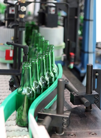 factory automation: Technological line for washing of glass bottles for beer