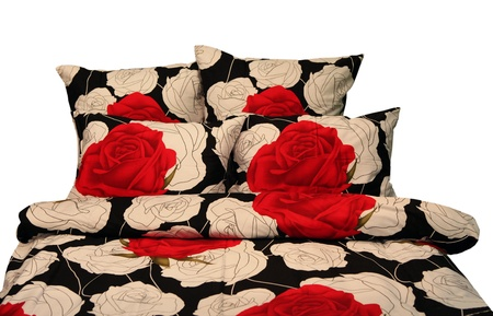 bedding - pillows, pillowcases, bed sheet with red roses on a white background photo