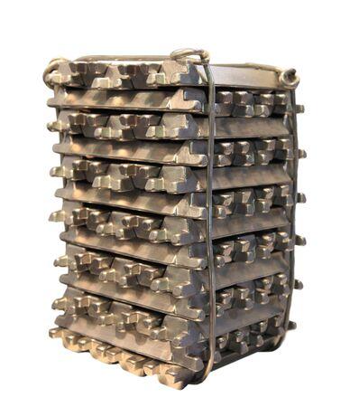 ingots: Stack of raw aluminum ingots in aluminum  factory