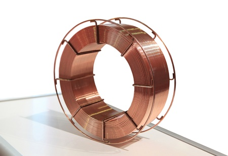 The coil of a copper wire for metal welding by the automatic device photo