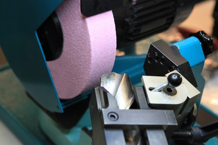 sharpening process: The tool for metal cutting is sharpened on the special machine tool