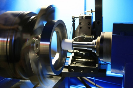 grinding: Grinding of a round detail on the special machine tool with a great speed