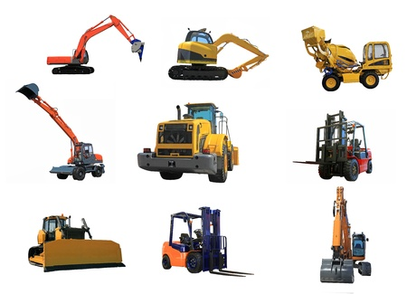 Different building cars isolated on a white background