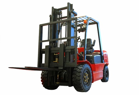 service lift: Forklift loader for warehouse works isolated on the white