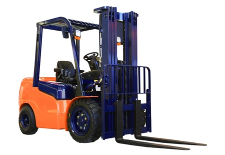 Forklift loader for warehouse works isolated on the white photo
