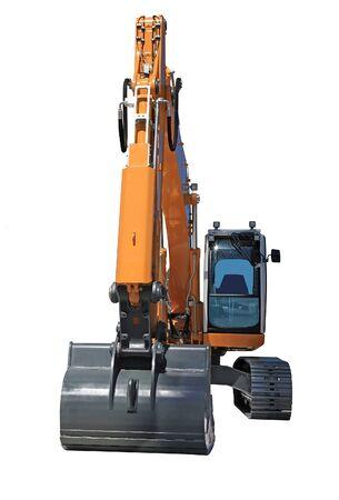power shovel: shiny and modern yellow excavator machines isolated on white