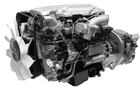 Gros plan d'un moteur diesel turbo Banque d'images