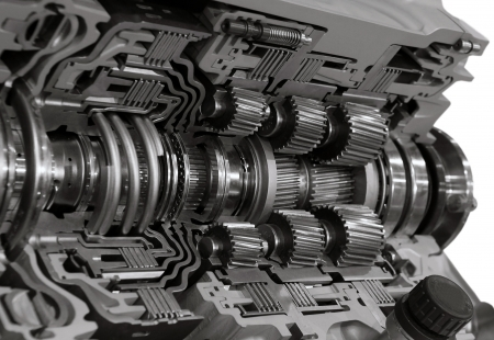gearbox: Automotive transmission gearbox with lots of details