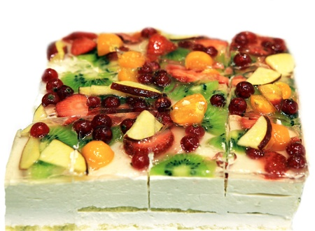 Close up pie with strawberry,  kiwi and other  berries and fruits photo