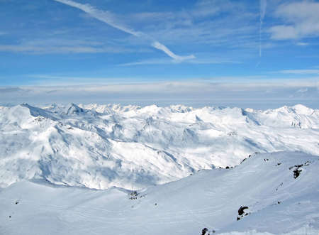 Alpes: Mountain landscape of the French Alpes around Courchevel Stock Photo