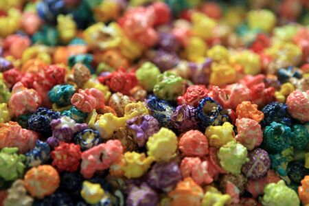 popcorn bowls: Grains of popcorn painted in different colors