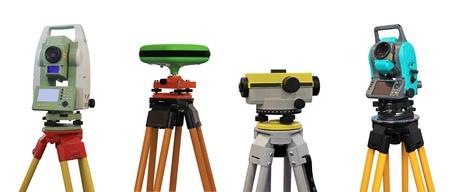 Sammlung von Geräten für Geodäsie und Kartographie Standard-Bild - 12753757