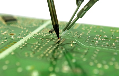 The soldering of electronic components on a payment for the computer Stock Photo - 13183304