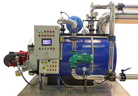 independent modern gas boiler room with manometers, valves, pumps and  pipelines