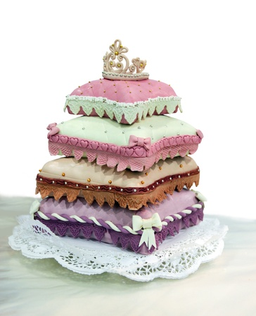 Wedding cake from pillows isolated on the white photo