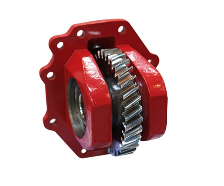 Cogwheel of a mechanical reducer in the pig-iron case Stock Photo - 13940235