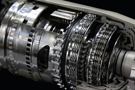 gearbox: Cross section of automatic gearbox isolated on black  Stock Photo