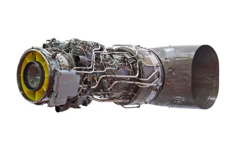 fuel chamber: Detailed exposure of a turbo jet engine for helicopter Stock Photo