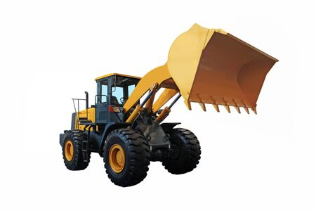 wheel loader: One Loader excavator  Construction machinery equipment isolated