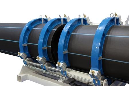soldadura: El dispositivo para la soldadura de tubos de pl�stico de gran di�metro Foto de archivo
