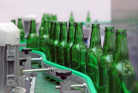 conveyor: Technological line for washing of glass bottles for beer