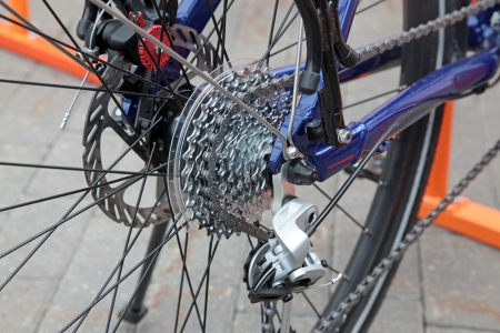 vehicle part: Rear racing bike cassette on the wheel with chain