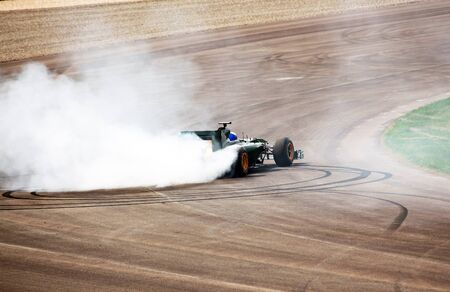 formula one: Formula One Car carries out a turn on the racing route
