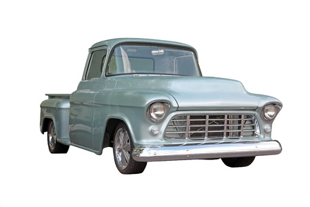 camioneta pick up: Pickup clásica nacarado aislado en un fondo blanco