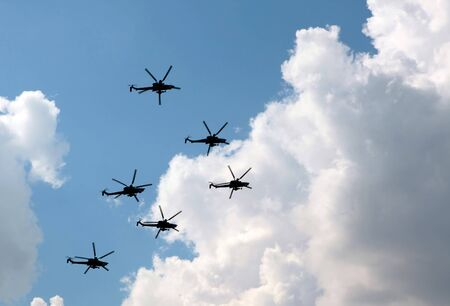 Six military Mi28 helicopters carry out formation flying