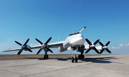 Strategic bomber Tu-95 costs on an airfield runway