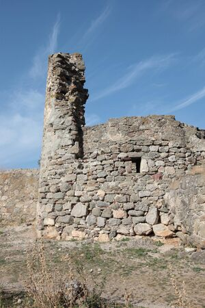 evenings: The ruins of old fortress Funa built in Crimea in XIV century