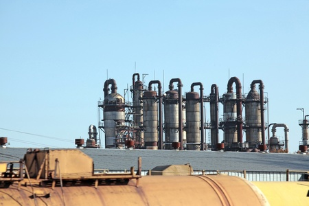 global cooling: The equipment of chemical plant against the blue sky