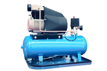 compressor: The electric air compressor isolated on the white Stock Photo