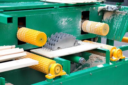 lumber industry: the machine with five circulating saws for manufacturing of boards from wood
